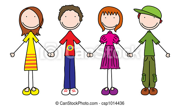 illustration of four kids holding hands stock illustration search rh canstockphoto com