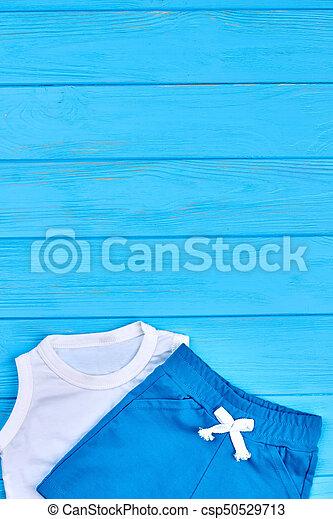 Kids summer wardrobe, copy space