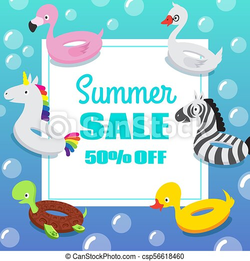 Kids Swimming Pool Party Invitation Poster With Inflatable Animal Rubber Swim Float Rings