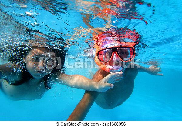 kids swimming underwater stock photo - Kids Swimming Underwater