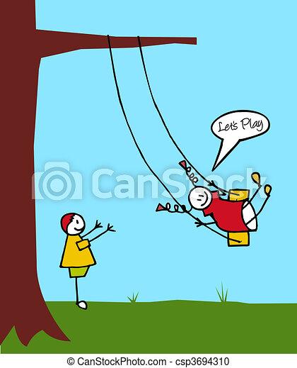 Kids swinging in the garden - csp3694310