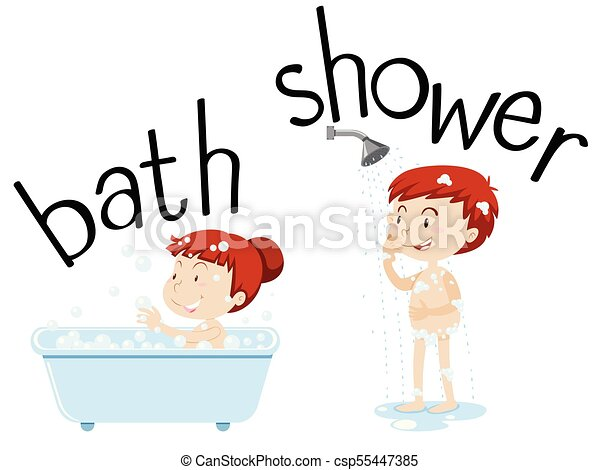 kids taking bath and shower illustration vector search clip art rh canstockphoto com kid taking a shower clipart taking a shower clipart black and white