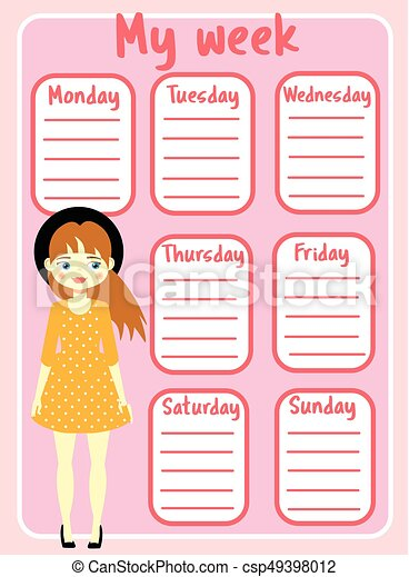 Kids timetable with beautiful teen character. Weekly planner for girls. School schedule design template - csp49398012