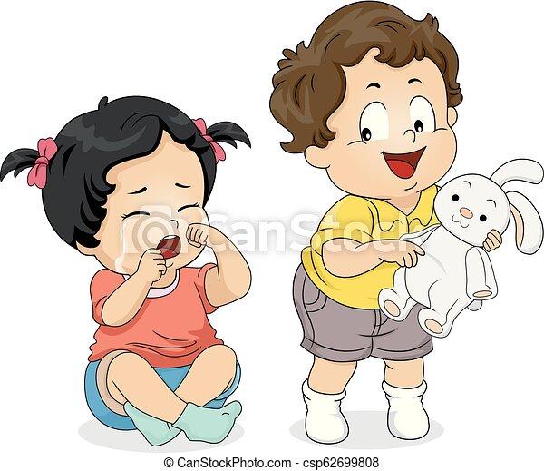 Kids Toddler Cry Not Share Toy Illustration Illustration