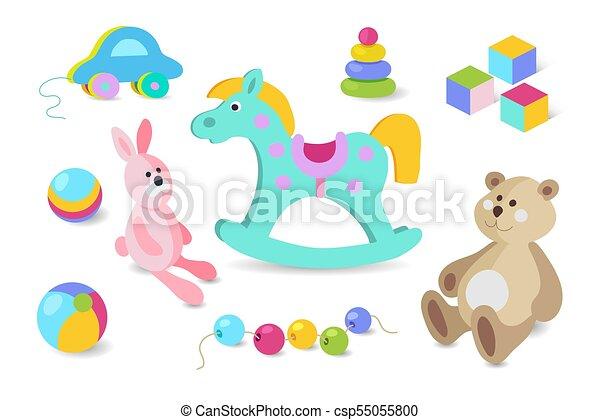 Kids toys cartoon vector icons set. - csp55055800