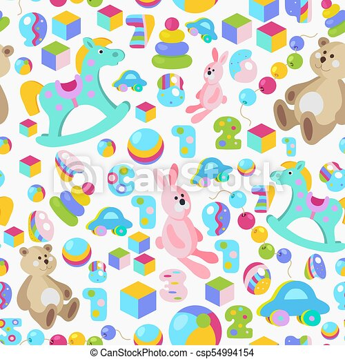 Kids toys colorful seamless pattern - csp54994154