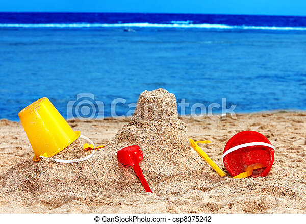 Kids toys on sand beach. - csp8375242