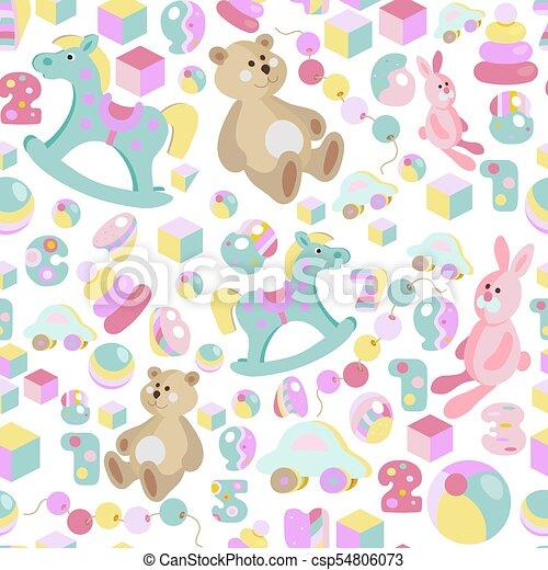 Kids toys pastel seamless pattern - csp54806073