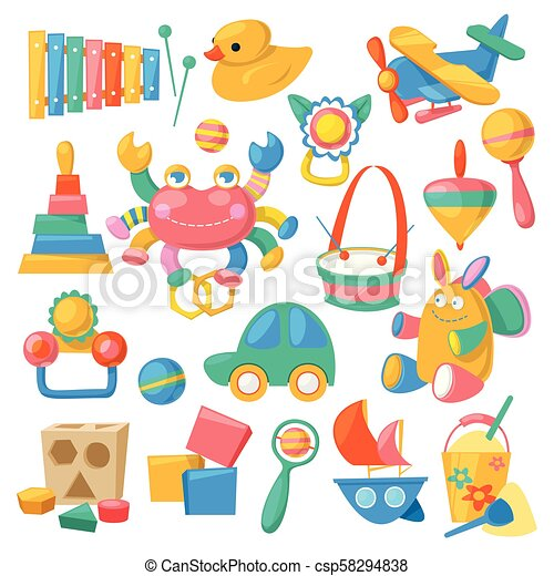 Kids Toys Vector Cartoon Games For Children In Playroom And Playing