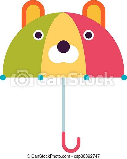 Kids Umbrella Vector Illustration Cute Kids Multi Colored Umbrella In Flat Design Style Autumn Accessory Concept Fashion