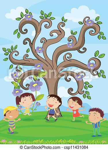 kids under a tree - csp11431084