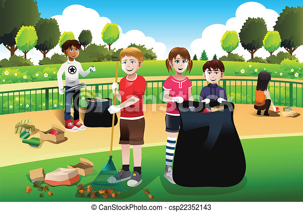 Kids volunteering cleaning up the park - csp22352143
