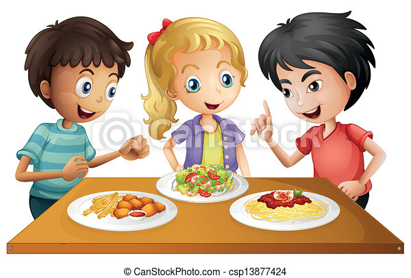 Kids watching the table with foods - csp13877424