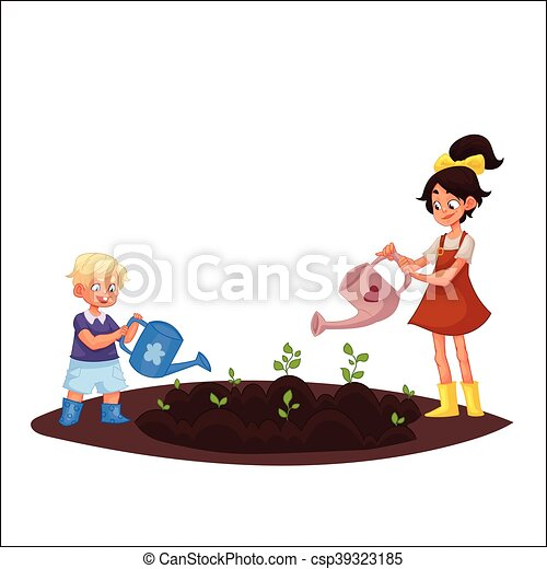 Kids Watering Plants In The Garden Vector