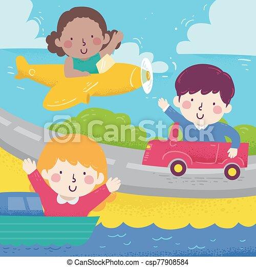 Kids Wave Diff Transportation Illustration - csp77908584