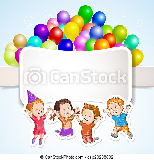Kids with balloons over banner - csp20208002