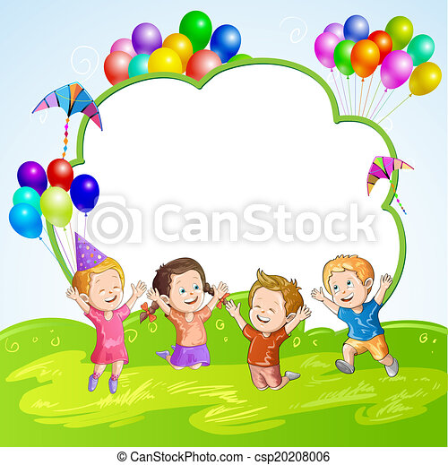 Kids with balloons over banner - csp20208006