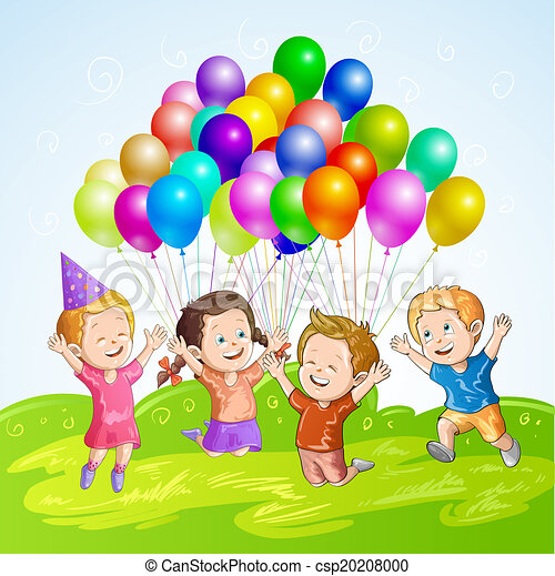 Kids with balloons - csp20208000
