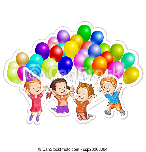 Kids with balloons - csp20208004
