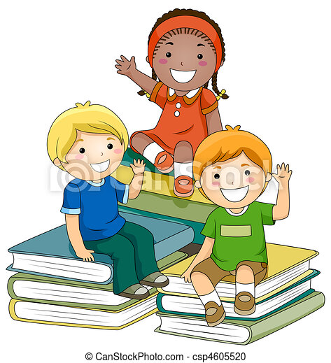 kids with books a small group of kids sitting on piles of stock rh canstockphoto com  small group instruction clipart