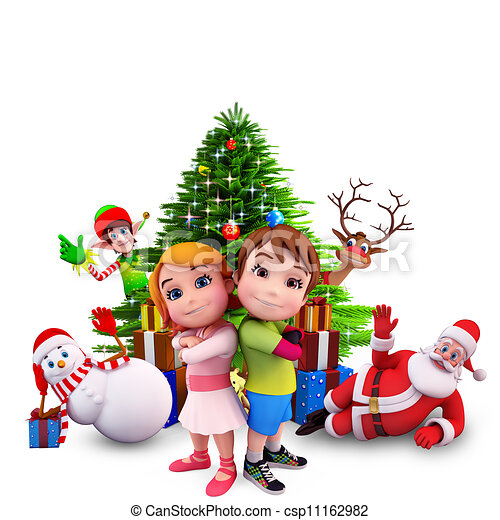 kids with christmas tree - csp11162982