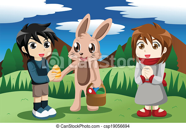Kids with Easter bunny - csp19056694