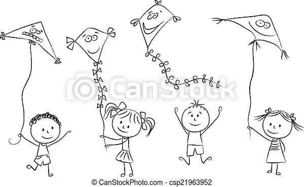 Kids with flying kites illustration of kids with flying kites hand kids with flying kites csp21963952 voltagebd Image collections