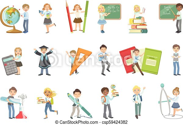 Kids With Giant School Attributes - csp59424382