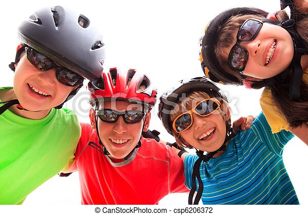 Kids with helmets and pads - csp6206372
