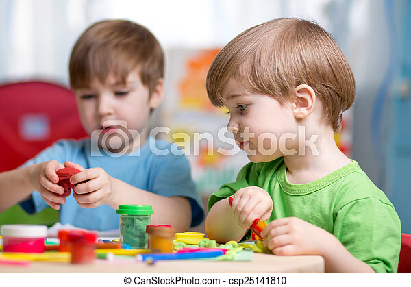 kids with play clay at home - csp25141810