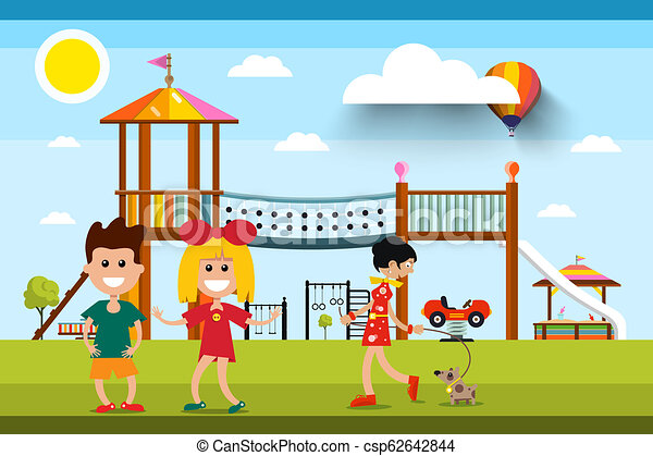 Kids with Playground and Woman with Dog on Background. Sunny Day in Park Vector Illustration. - csp62642844