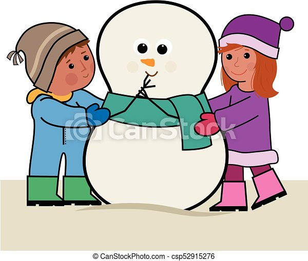 Scene with kids and snowman - Download Free Vectors, Clipart Graphics &  Vector Art