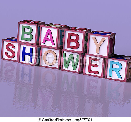 Kids Wooden Blocks Spelling Baby Shower As Symbol for Babies And Newborns Party - csp8077321
