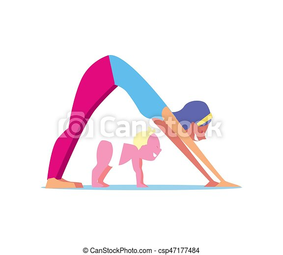 Kids Yoga Concept With Mother And Child Vector Illustration Isolated On White Background Family Fitness Training Gymnastics For Children In Flat Design