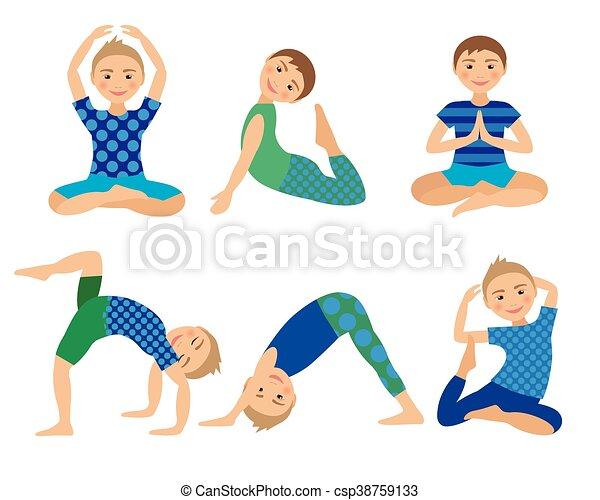 Kids Yoga Poses Vector Illustration Child Doing Exercises Posture For Kid Healthy Children