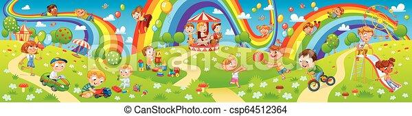 Kids zone. Amusement park rides. Children playing in playground - csp64512364