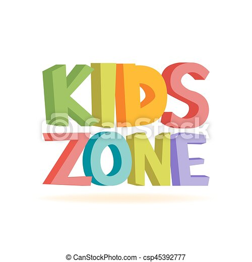 9c4dbdfe6 Kids zone funny colourful sign letters. vector illustration.