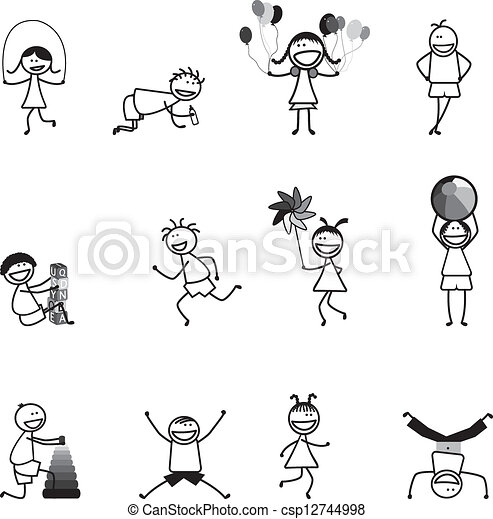KidsChildren Playing Having Fun At School In Black And White The Girls Boys Are Skipping Vector