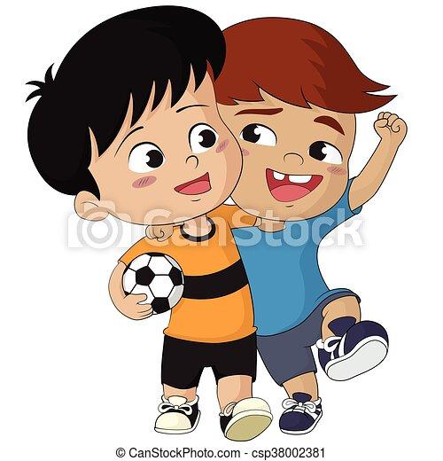 Kids vector calcio cartone animato illustration camminare