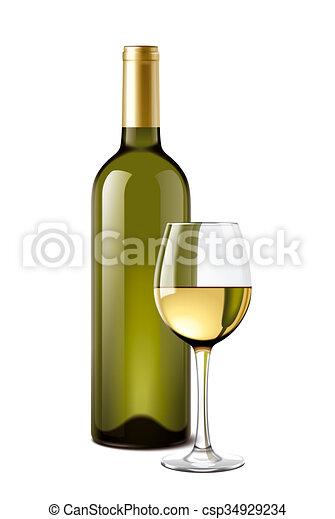 Kieliszek Do Wina Butelka Wino Szczegółowy Ilustracja
