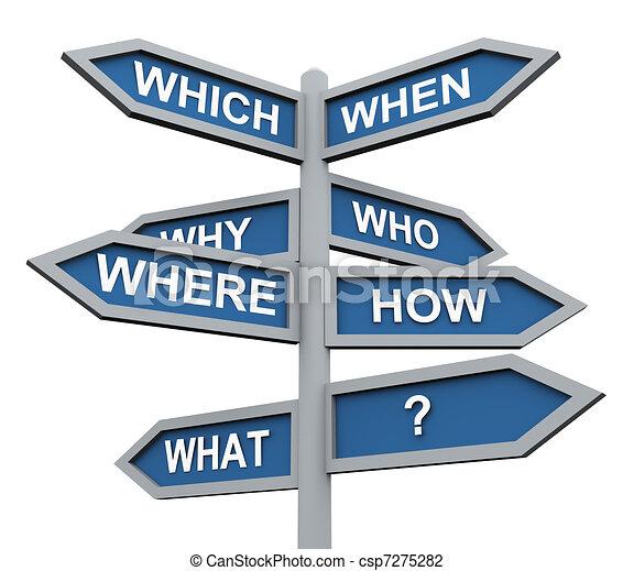 kierunek, 3d, pytania, znak - csp7275282
