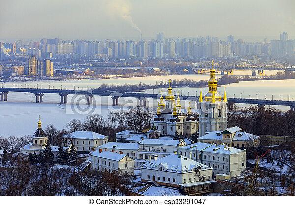 Kiev-Pechersk Lavra at winter - csp33291047