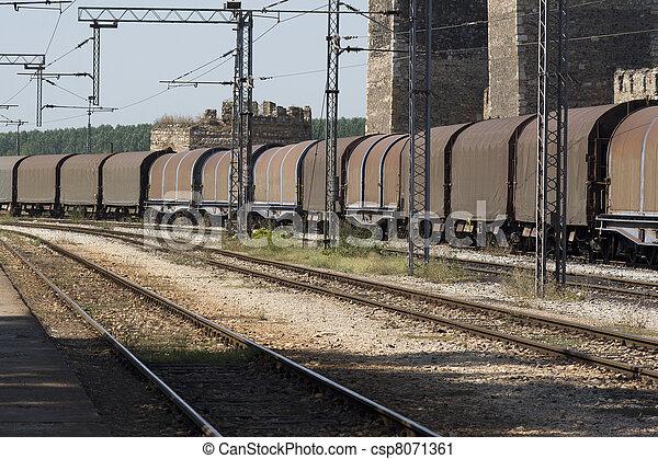 kiképez, elmenő, állomás, vasút, rakomány - csp8071361