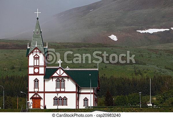 kikötő, husavik, templom, izland - csp20983240