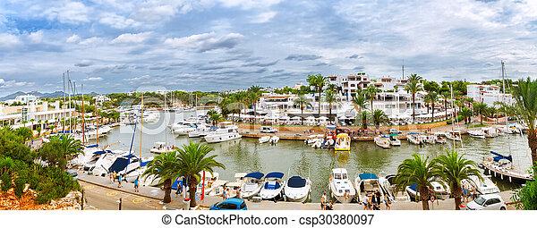 kikötő, szórakozási, jacht, körképszerű, marina, cala, mallorca, kilátás, d'or, spanyolország, boats. - csp30380097