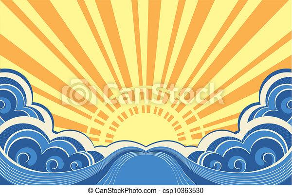 kilátás a tengerre, elvont, ábra, vektor, tenger, waves. - csp10363530