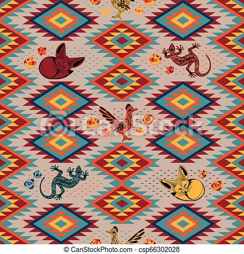 Kilim Ethnic geometric ornament with desert animals. Pattern of bright rhombuses. Greater roadrunner, Fennec fox, lizard - csp66302028