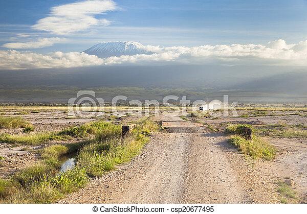 Kilimanjaro with snow cap - csp20677495