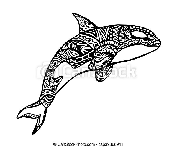 Killer Whale Zentangle Illustration - csp39368941