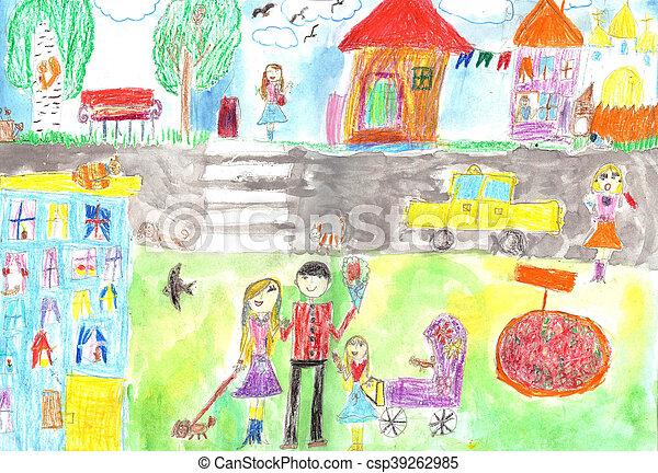 Kind, auto, familie, straße, zeichnung, glücklich. Kind, auto ...